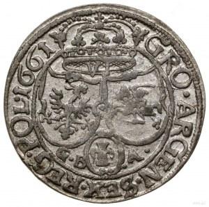 Szóstak, 1661 GBA, mennica Lwów; na awersie Ślepowron b...