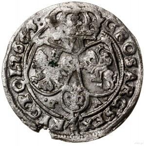 Szóstak, 1665 TA, mennica Bydgoszcz; odmiana z literami...