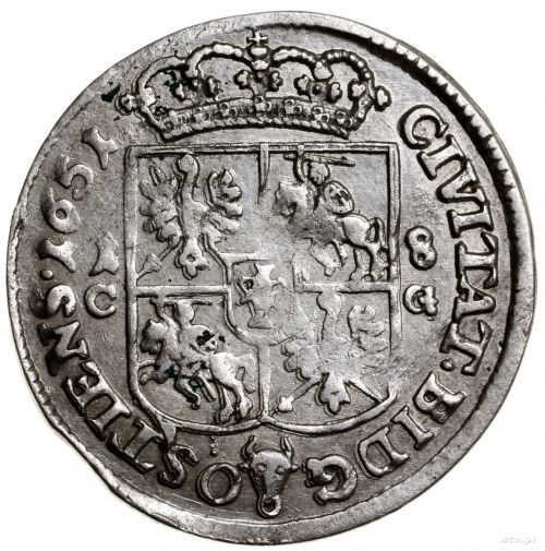 Ort, 1651, mennica Bydgoszcz; Aw: Popiersie króla w wie...