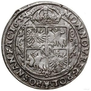 Ort, 1654, mennica Poznań; wariant z prostą tarczą herb...