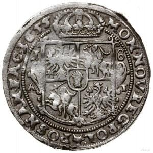 Ort, 1655, mennica Poznań; wariant z prostą tarczą herb...