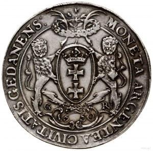 Dwutalar, 1650, mennica Gdańsk; Aw: Półpostać króla w p...