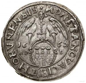 Ort, 1662, mennica Toruń; na awersie POL & SVE, na rewe...