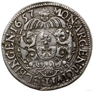Ort, 1657; mennica Elbląg; odmiana z napisem CAROLVS......