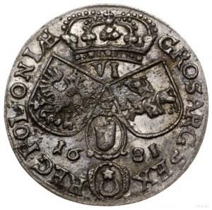 Szóstak, 1681, mennica Kraków; popiersie króla w zbroi,...