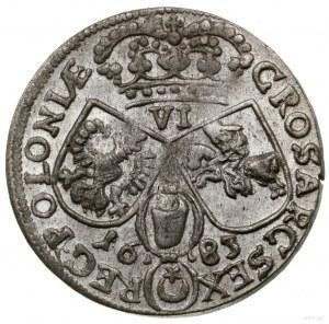Szóstak, 1683, mennica Kraków; popiersie w koronie i zb...