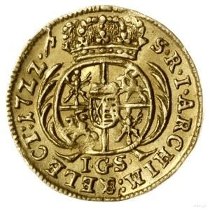 1/4 dukata, 1722 IGS, Drezno; Aw: Popiersie króla zwróc...