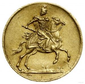 Dukat koronacyjny, 1697, Drezno; Aw: Król na koniu z bu...