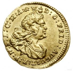 1/4 dukata, 1737 FWôF, Drezno; Aw: Popiersie króla zwró...
