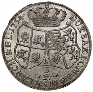1/3 talara (1/2 guldena), 1754 FWôF, Drezno; Kahnt 554,...