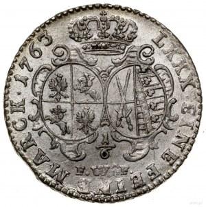 1/6 talara (4 grosze), 1763 FWôF, Drezno; Kahnt 565, Ko...