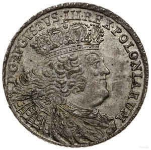 Dwuzłotówka, 1753, Lipsk; masywne popiersie króla, odmi...