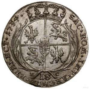 Ort, 1754, Lipsk; buldogowate popiersie króla z owalnym...