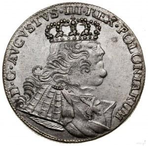 Ort, 1754 EC, Lipsk; buldogowate popiersie króla z owal...