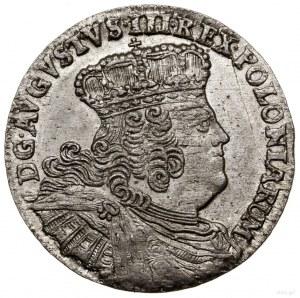 Ort, 1754 EC, Lipsk; duże popiersie króla, zapinka król...