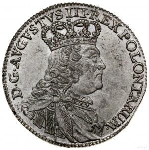 Ort, 1755 EC, Lipsk; małe popiersie króla, obie korony ...