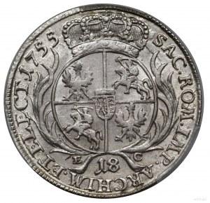 Ort, 1755, Lipsk; masywne popiersie króla w szerokiej k...
