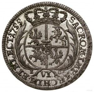 Szóstak, 1755 EC, Lipsk; szerokie popiersie króla z owa...