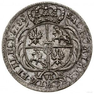 Szóstak, 1755 EC, Lipsk; popiersie króla średniej wielk...
