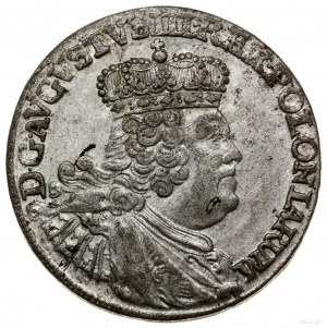 Szóstak, 1756 EC, Lipsk; szerokie popiersie króla, koro...