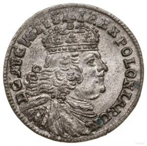 Trojak, 1754, Lipsk; szerokie popiersie króla; Iger Li....