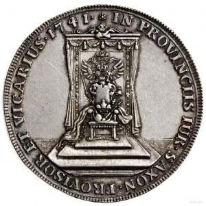 Talar wikariacki, 1741, Drezno; Aw: Król na koniu z mie...