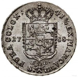 Dwuzłotówka, 1788 EB, Warszawa; pod tarczą herbową lite...