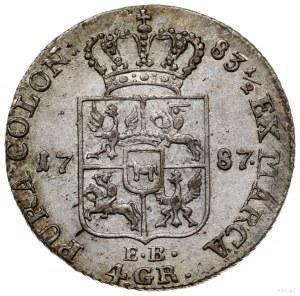 Złotówka, 1787 EB, Warszawa; Kop. 2376, Parchimowicz SA...