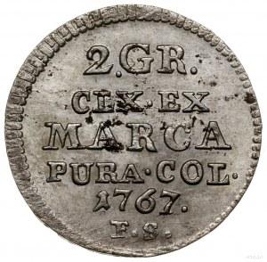 Półzłotek, 1767 FS, Warszawa; odmiana z tarczą herbową ...