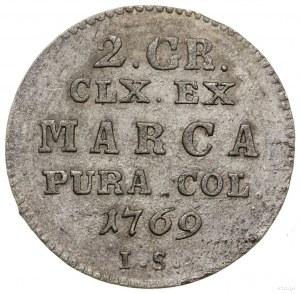 Półzłotek, 1769 IS, Warszawa; wariant z wieńcem wokół t...