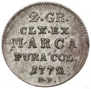 Półzłotek, 1772 AP, Warszawa; na rewersie u dołu litery...