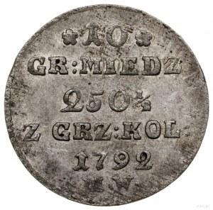 10 groszy miedziane, 1792 MW, Warszawa; odmiana z liter...