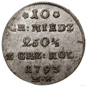 10 groszy miedziane, 1793 MW, Warszawa; Kop. 2295, Parc...