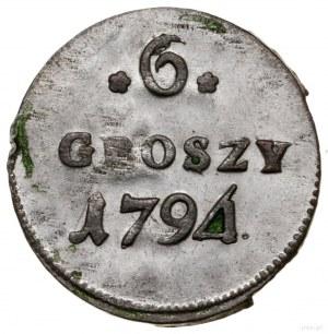 6 groszy miedzianych, 1794, Warszawa; odmiana z cyfrą 4...