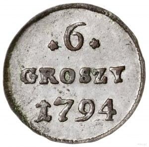 6 groszy miedzianych, 1794, Warszawa; odmiana z standar...