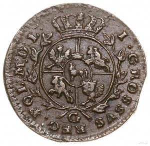 Grosz miedziany, 1767 G, Kraków; brak kropki po dacie, ...