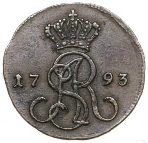 Grosz miedziany, 1793 MV, Warszawa; korona wysoko nad m...