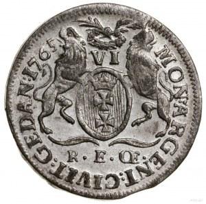 Szóstak, 1765, Gdańsk; litery R E CE (Rudolfa Ernsta Ce...