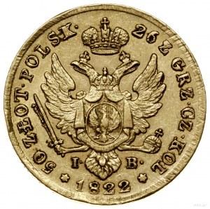 50 złotych, 1822, Warszawa; Aw: Głowa cara zwrócona w p...