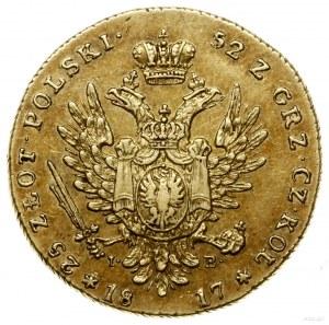 25 złotych, 1817, Warszawa; Aw: Głowa cara w prawo i na...