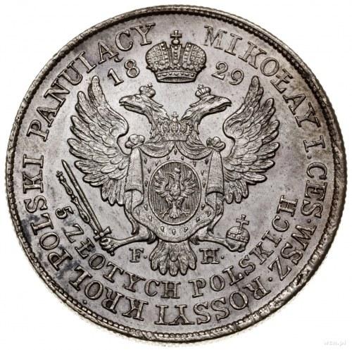 5 złotych, 1829 FH, Warszawa; Aw: Głowa cara Aleksandra...