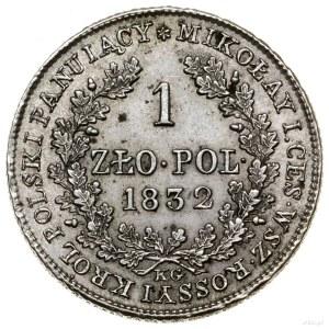 1 złoty, 1832 KG, Warszawa; odmiana z mniejszą głową ca...