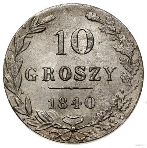 10 groszy, 1840 MW, Warszawa; odmiana bez kropek na awe...
