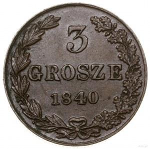 3 grosze, 1840 MW, Warszawa; odmiana bez kropek, duże c...