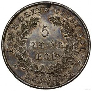 5 złotych, 1831 KG, Warszawa; na rewersie ułamek 211/62...