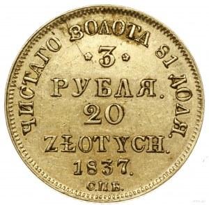 3 ruble = 20 złotych, 1837 СПБ / ПД, Petersburg; Aw: Dw...