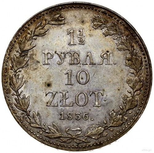 1 1/2 rubla = 10 złotych, 1836 MW, Warszawa; duże cyfry...