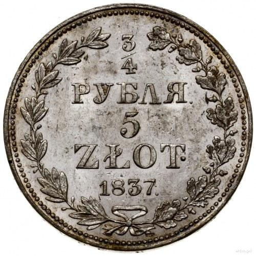 3/4 rubla = 5 złotych, 1837 MW, Warszawa; wąski ogon Or...