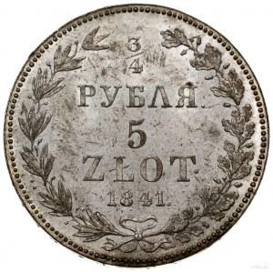 3/4 rubla = 5 złotych, 1841 MW, Warszawa; odmiana z luź...