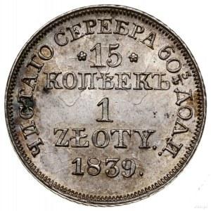 15 kopiejek = 1 złoty, 1839 MW, Warszawa; wariant z kro...